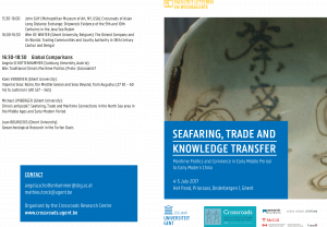 Flyer Cover of the conference Seafaring, Trade and Knowledge Transfer, 4-5 July 2017