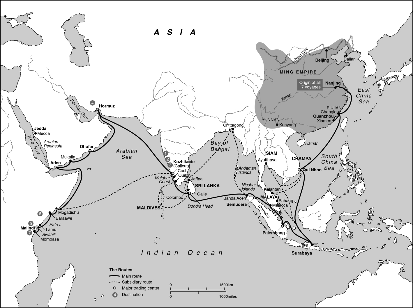 Reconstruction of Zheng He's 鄭和 (1371–1435) seven expeditions into the Indian Ocean.